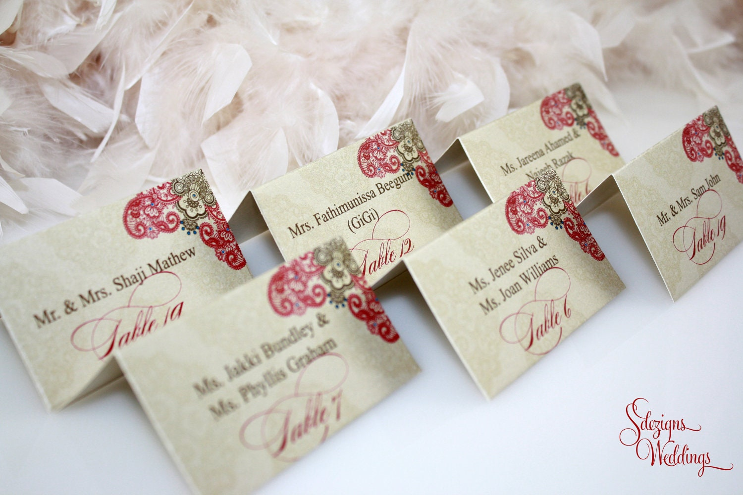 Escort cards place cards Indian Henna Design