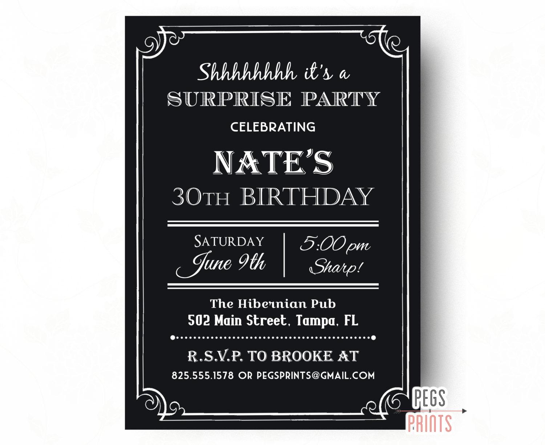 Adult surprise birthday invite 40th birthday invitation for zoom stopboris Gallery
