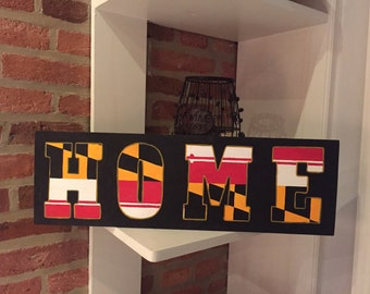 Maryland flag Wooden Home Sign