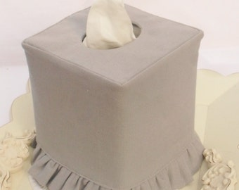 Gray Linen ruffled tissue box cover