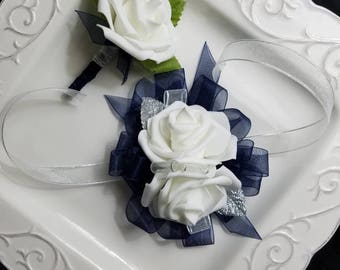 White and Navy Blue Wrist Corsage With Matching Boutonniere Foam Roses Prom  Artificial Flowers made from  Foam  SEE DESCRIPTION