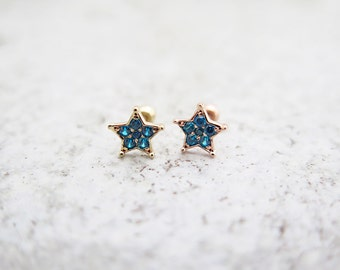 Cartilage earring/14K solid gold piercing/Star earring/Tragus Earring/Piercing/Cartilage earring/Tragus Piercing/Cartilage piercing/Earrings