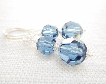 Denim Blue Earrings, Blue Swarovski Crystal Beaded Drop Earrings, Silver Earrings, Swarovski Crystal Jewelry, Dangle Earrings, Gift for Her
