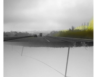 Traversée (Landscape Photography - Fine Art Print - Road - Fog - WaterColor paints - Black and white - Yellow)