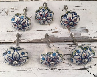 Knobs, AS IS-CLEARANCE Hand Painted Decorative Pull Knob, Furniture Upgrade Ceramic Drawer Pulls, Cabinet Supplies, Item 292207295