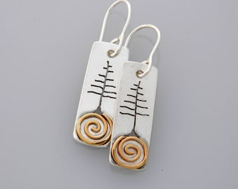 """Mixed metal jewelry, mixed metal tree earrings, nature jewelry """"Solstice Trees"""" earrings with a spiral"""