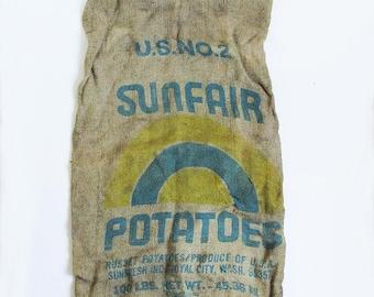 Vintage Washington State Potato Sack - Burlap Bag - Gunny Sack