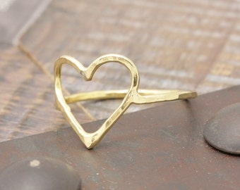vermeil gold big open heart hammered band ring