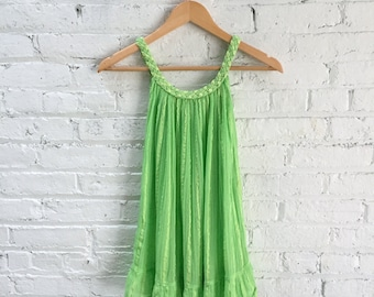 vintage gauze cotton babydoll top / kids vintage dress / cotton striped beach cover up / chartreuse green gauzy tank top tunic