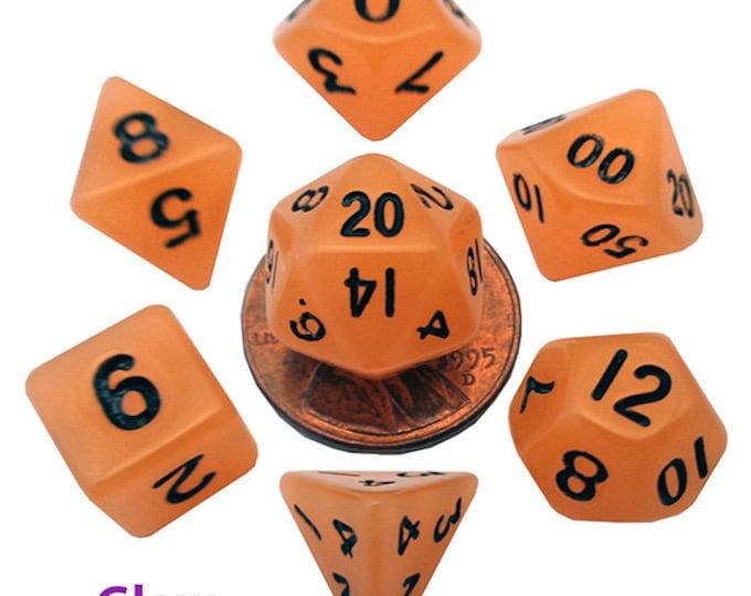 7-Die Set Glow: 10mm Orange/Black - MTD4304 - Metallic Dice Games