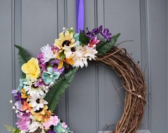 Grapevine Wreath with Floral - optional address number/monogram (custom)