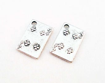 """BJ51 - 2 charms cards """"Four clover"""" playing Poker, antiqued, silver trays"""