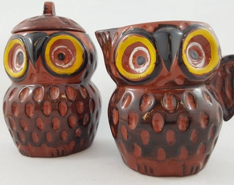 Cute and Kitschy Owl Cream and Sugar Set