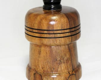 Hand-Turned Lidded Box - Spalted Walnut and Ebony