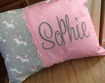 """Pink Dotty Personalised Unicorn Oblong Pillow 16"""" x 11"""" Embroidered Gift/Presents"""