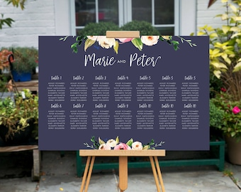 Custom Printable Seating Chart, printable wedding Table Chart, Navy Floral Wedding Sign, Wedding Seating Arrangement, Find Your Seat Sign