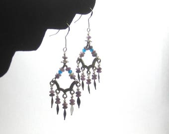Lepidolite and Apatite Silver Chandelier Earrings