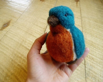 Needle Felted Cute Bluebird Bird