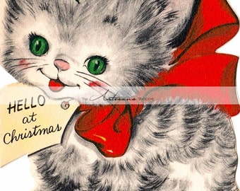 Printable Instant Download - Vintage Christmas Kitten Card Image - Paper Crafts Scrapbook Altered Art - Vintage Cute Cat Kitty Christmas Art