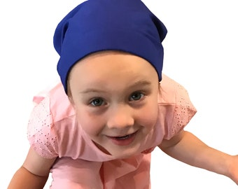 Mia Children's Head Cover, Girl's Cancer Hat, Chemo Scarf, Alopecia Headwear, Head Wrap, Cancer Gift for Hair Loss - Royal Blue
