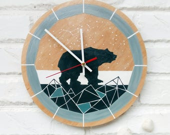 Tribal Bear Indian style Wall Clock, Grey Blue White, Geometrical, Modern wall clock, wood clock, white home decor, Office, tribal decor