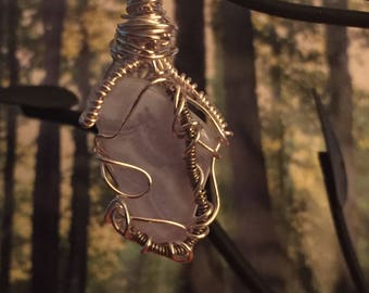Wire wrapped Blue Lace Agate