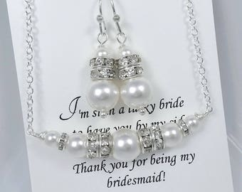 White Pearl Necklace, White Pearl Jewelry Set, Bridesmaid Jewelry Set, Swarovski White Pearl Jewelry Set, Bridesmaid Gift, Wedding Jewelry