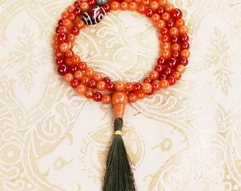 6 mm Red Aventurine Mala Necklace w Carnelian, Tibetan Agate, Serpentine - Yoga Prayer Beads