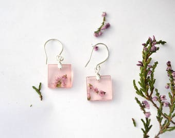 Real Heather flowers dangle resin earrings, Good luck jewelry, Silver resin dangle earrings Resin jewelry Calluna vulgaris Gift for her