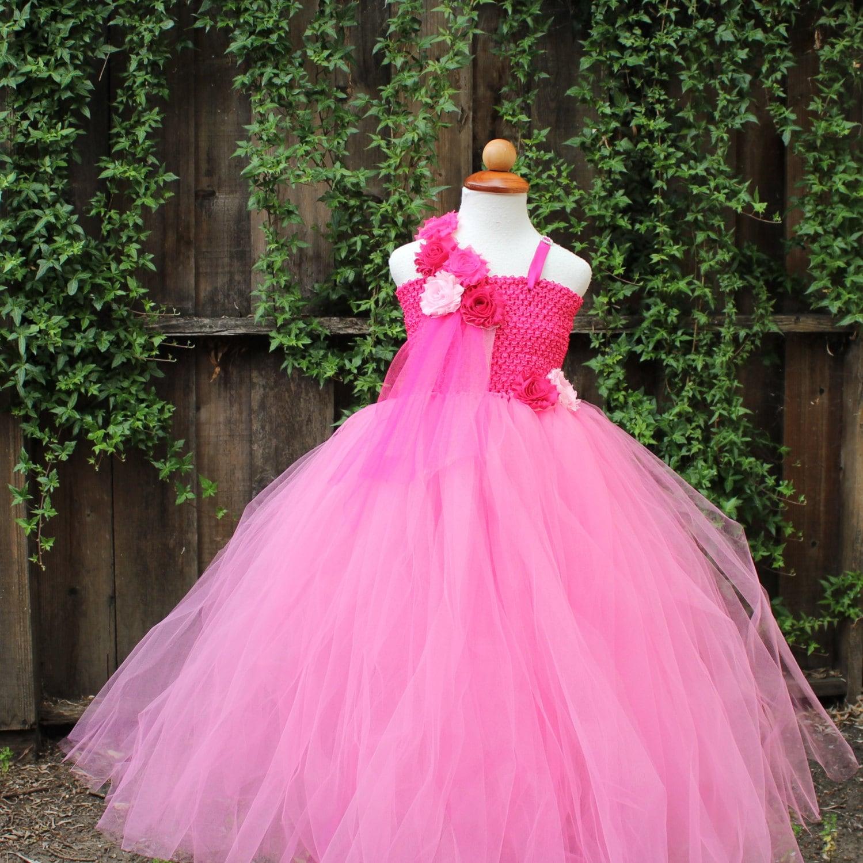 Hot Pink One Shoulder Dress Pink Flower Girl Dress Pink