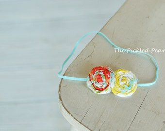 You Pick! 1, 2 or 3 Rolled Flower rosette headband, baby headband, toddler headband, newborn headband, headband for babies, photography