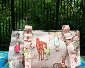 Vintage Cowgirl Cotton Print Handbag, Purse, Baguette Bag, Country Western Women's Shoulder Bag