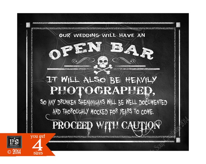 Open Bar Drunken Shenanigans Halloween Wedding BAR Sign Printable chalkboard downloadable sign 4 sizes instant download - Wicked Collection