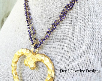 Gold heart pendant- amethyst- fine- luxurious- cluster necklace- purple- gemstones- boutique jewelry- purple- 14k gold filled- one of a kind