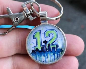 12th Man Keychain Seattle Skyline Keychain Seahawks Fan Art Space Needle Seattle Pendant Keychain 12th Man Gift Go Hawks Pendant Cabochon