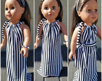 Black and white Summer Maxi Dress and bracelet for 18inch Doll American Girl