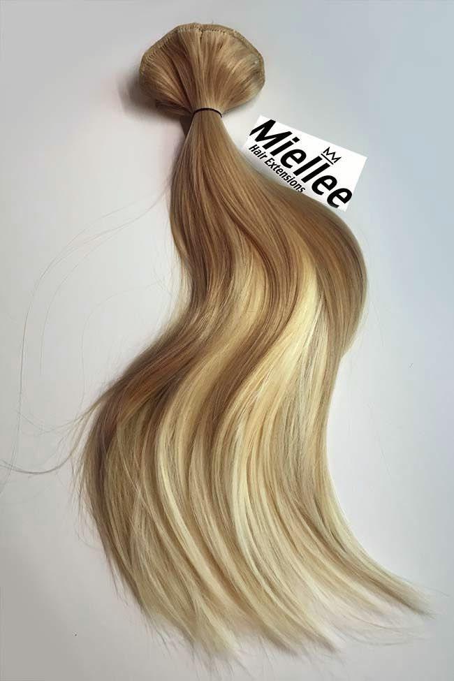 Medium Golden Blonde Balayage Weave Hair Extensions Silky