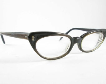 Cat Eye Glasses Black and Brown Two Tone Ward Tam Small Frames Vintage Eyewear