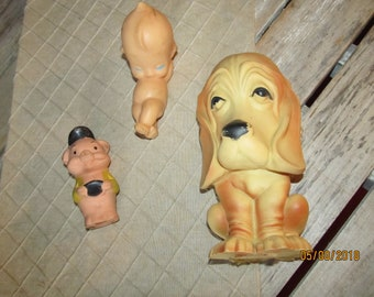 3 Vintage 1970's Rubber Baby Squeaky Toys - Kewpie Doll - Pig Piglet & Dog Long Earred Big Sad Eyed Puppy Dog