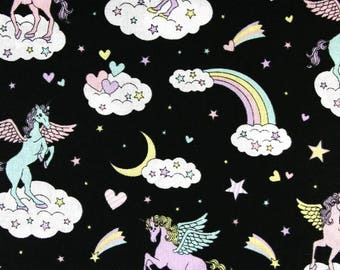 Cosmo Magical Unicorns Black (Half metre)