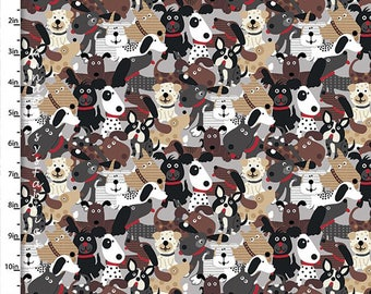 Dog Fabric, Dog Quilt Fabric, Quilters Palette Doggie Land Collection 12464 Multi, Red, Gray, Brown Dog Quilt Fabric, Cotton