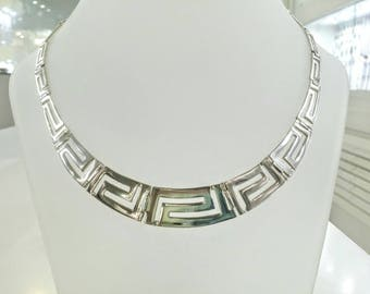 Greek key meander tapered necklace in solid sterling silver 925