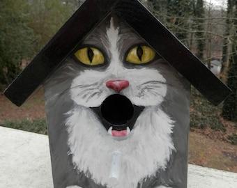 Bird House Hand Painted Custom Gray Tuxedo Cat Design Wood Outdoor
