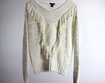 Irresistible Boho Sweater / V- Neck  Ivory Fringed sweater/ Small