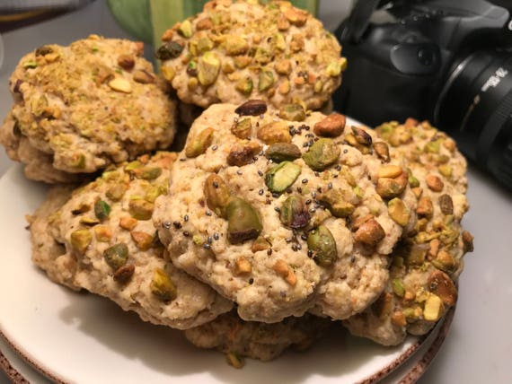 Vegan Pistachio Vanilla cookies 10 pieces, plant based
