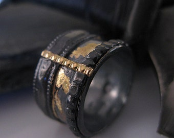 SALE  Size 7-1/2 Viking Ring Mens Wedding Band Viking Wedding Ring Mens Wedding Ring Unique Mens Wedding Band Rustic Mens Wedding Ring Black