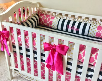Girl Crib Bedding, Baby Girl Crib Sets, Hot Pink and Gold Dot Baby Bedding, Black and White Stripe Crib Sets, Hot Pink Crib Bedding