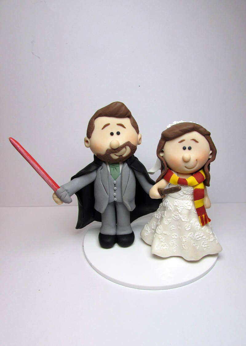 Starwars and Harry Potter Wedding cake topper Personalised