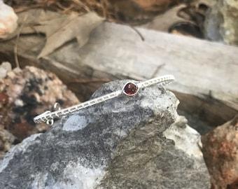 Garnet Silver Bracelet Cuff