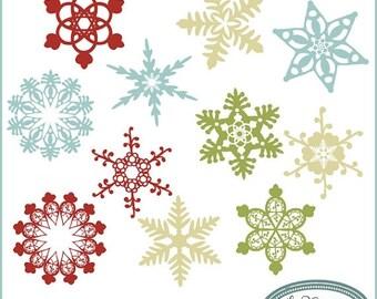 50%OFF Snowflake clip art, winter clip art, Christmas clip art, whimsy snowflake clip art, quirky snowflake clip art, C38